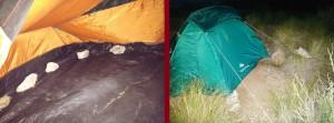 Lestage et arrimage de la tente en bivouac