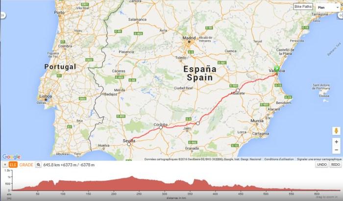 Itinéraire voyage à vélo Valencia Sevilla
