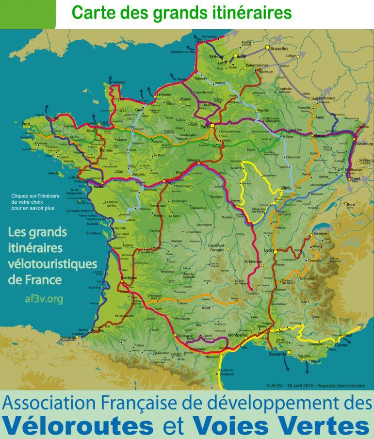 carte des voies vertes en france Voies vertes et Véloroutes pour voyager à vélo en France