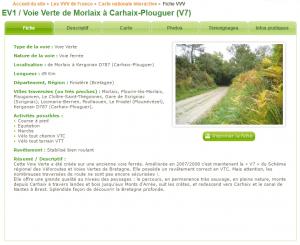 Fiche de la voie verte Morlaix-Carhaix / Eurovélo 1 / La Véloyssée