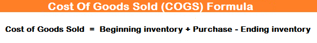Cost Of Goods Sold (COGS) Formula
