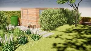 bij de renovatie van de achtertuin is een nieuwe tuinberging voorzien