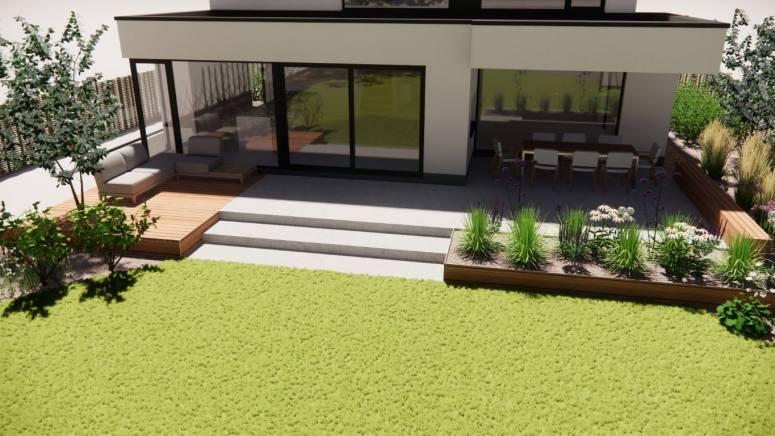 Betonvlakken en hout ter inkleding van het terras
