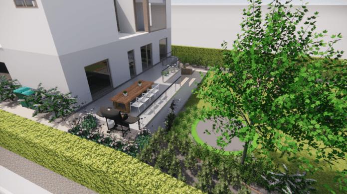 3D tuinontwerp met terras op hoogte
