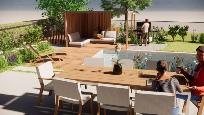 gezellig terras aan biologisch zwembad
