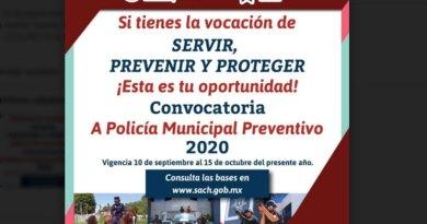 "SSPTM lanza segunda convocatoria ""policía municipal preventivo 2020"""