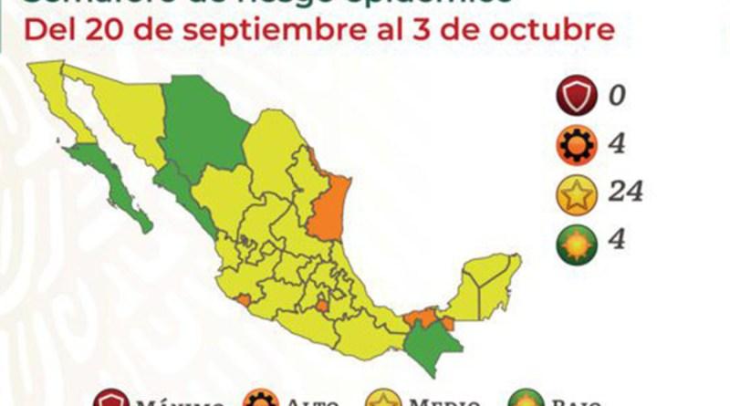 Ubican a Puebla y 23 entidades más en semáforo amarillo Covid-19
