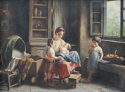 giuseppe magni mother with children painting 27469736d