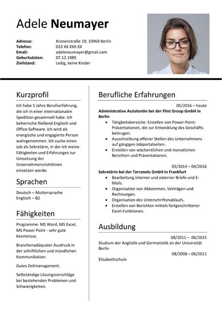 german resume template doc