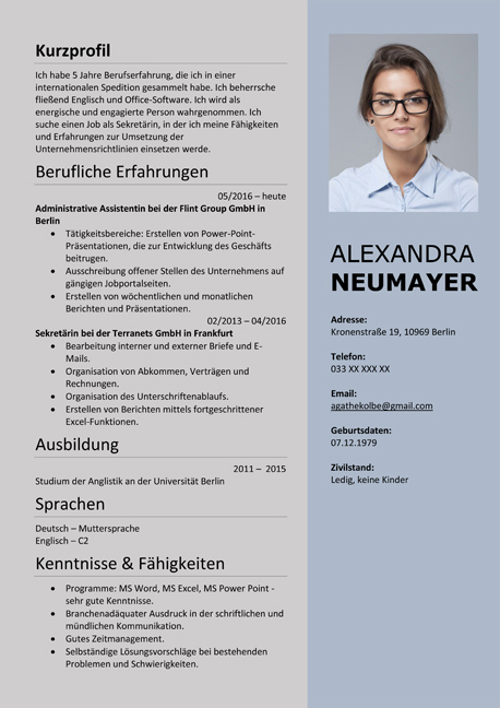 curriculum vitae resume template sample german austria - William Shakespeare Lebenslauf