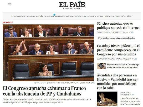 El País Comparación de portadas 13/09/2018 Tesis Pedro Sánchez