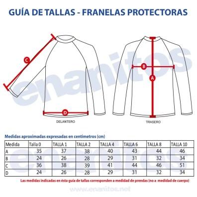 Guía de talla de Franela Protectora para niños