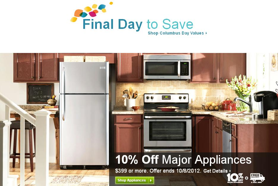 lowes kitchen appliances bar stools for islands columbus day sales 2012 20 off on finished cabinets enblow
