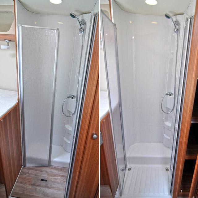 La ducha con y sin su plato cubierto