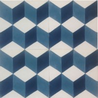 Geometric 3D Encaustic Cement Tile - Midnight Blue