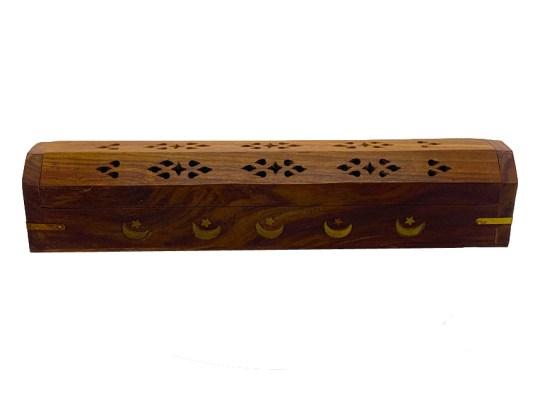 Star & Moon Wooden Box Incense Burner