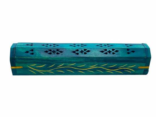 Teal Vines Wooden Box Incense Burner
