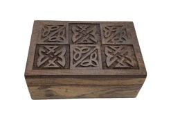 Hand Carved Celtic Knot Square Wooden Box