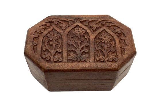 Hand Carved Octagon Flower Wooden Box