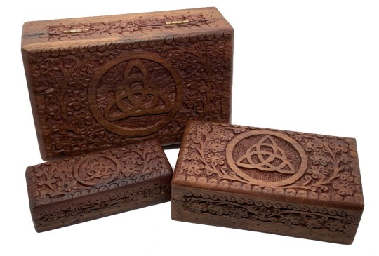 Hand Carved Triquetra Box Set