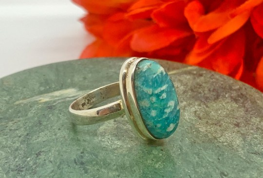 Amazonite in Sterling Silver Ring Size 8