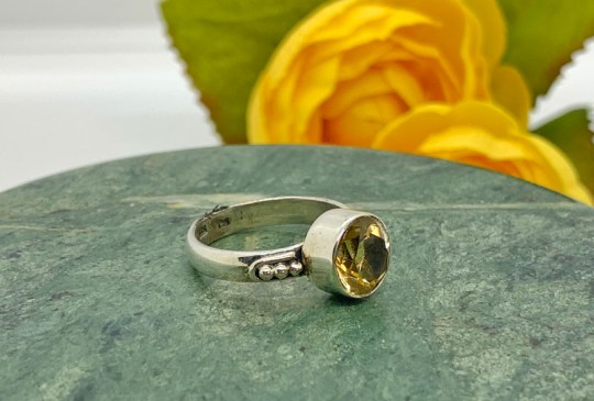 Faceted Citrine in Sterling Silver Ring Size 6