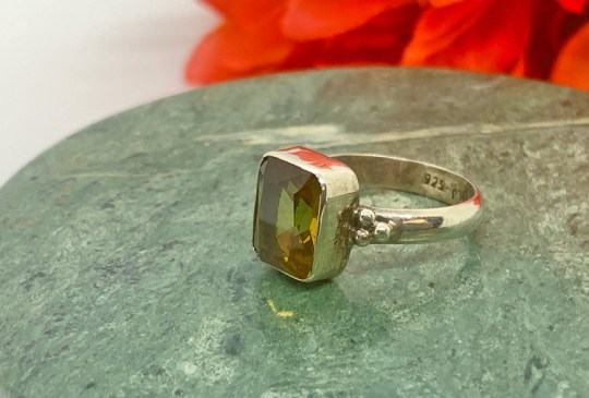 Faceted Zultanite in Sterling Silver Ring Size 8