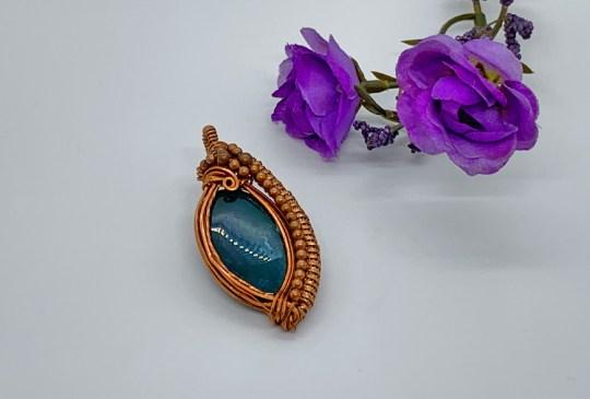 Bloodstone in Copper Pendant
