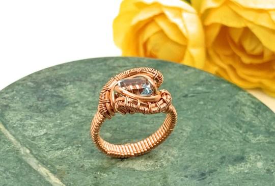 Blue Topaz Copper Ring
