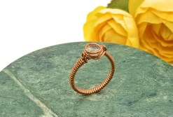 White Topaz Copper Ring