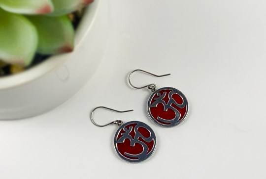 Red Coral with Om Symbol in Sterling Silver Earrings
