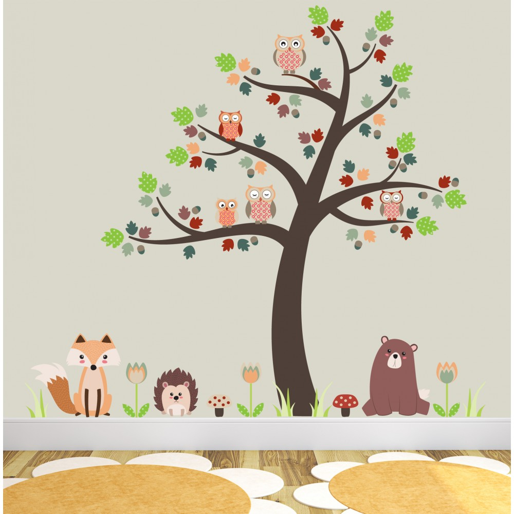Fall Woodland Creatures Wallpaper Fox And Owls Nursery Wall Stickers