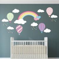 Rainbow Hot Air Balloon and Raindrop Wall Stickers