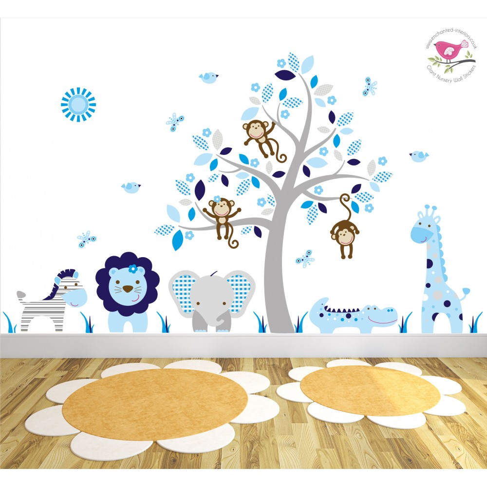 Cute Baby Lion Wallpaper Safari Fabric Nursery Wall Stickers