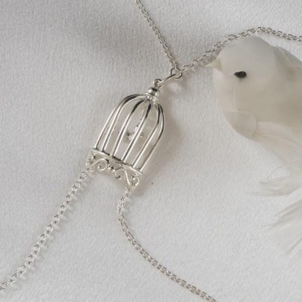 Women Silver Bird Cage -piercing Nipple Necklace