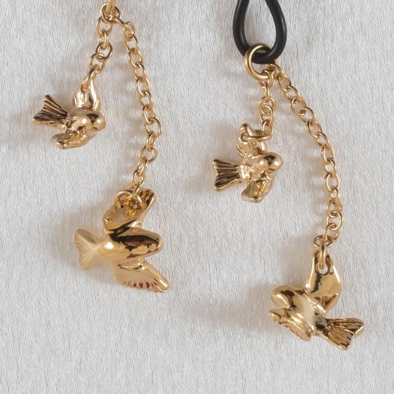 Birds In Flight Gold Non Piercing Nipple Rings