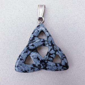 Trinity Knot Pendant- Snowflake Obsidian