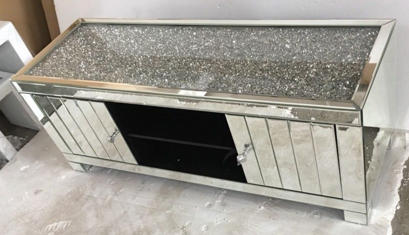 Crushed Diamond Mirrored Mosaic TV Cabinet  Enchanted