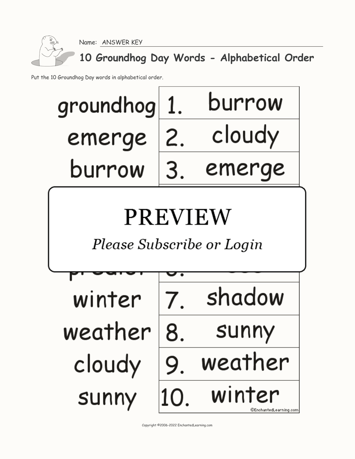 10 Groundhog Day Words