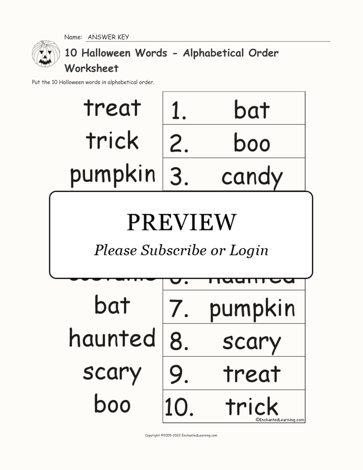 hight resolution of 10 Halloween Words - Alphabetical Order Worksheet - Enchanted Learning