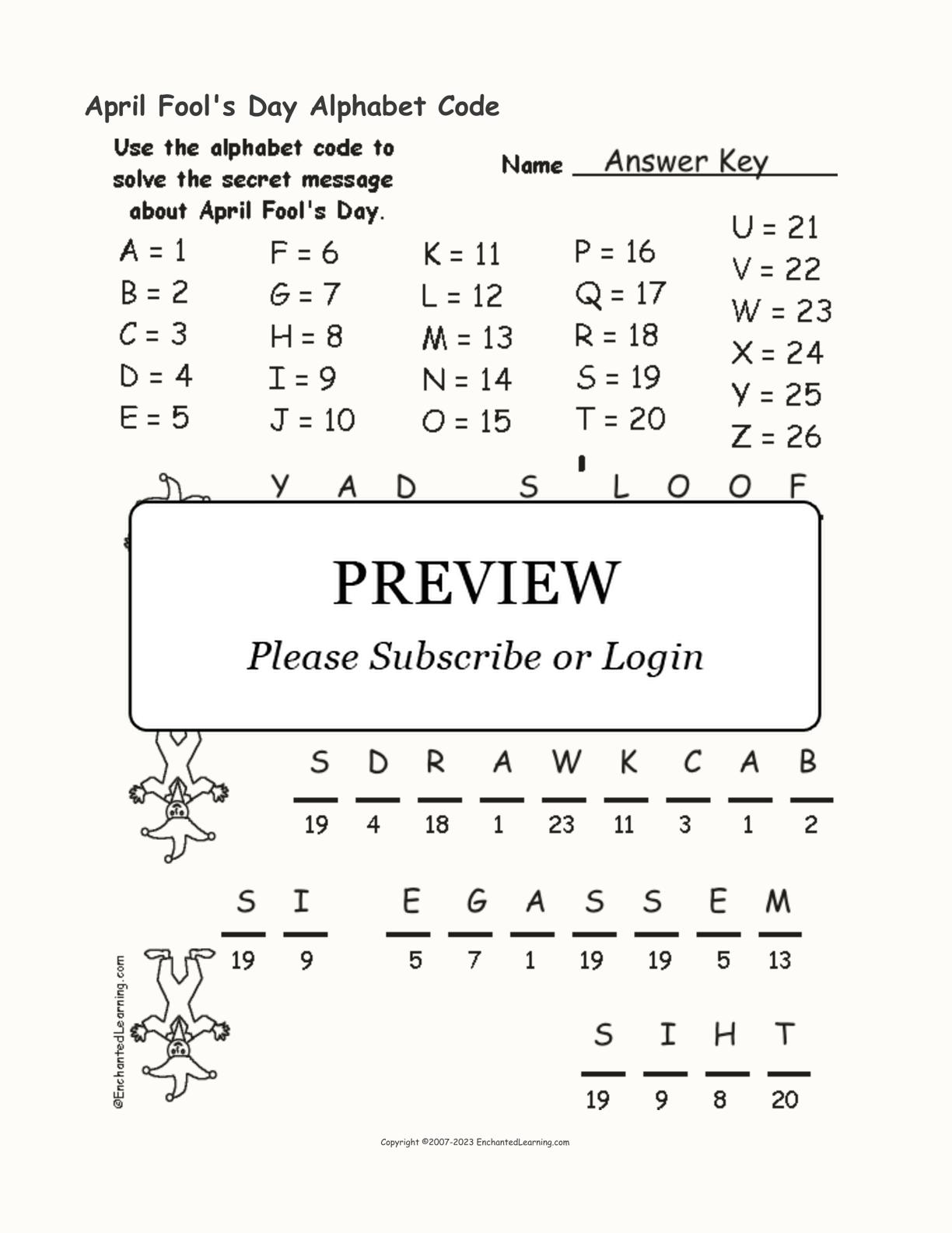 April Fool S Day Alphabet Code