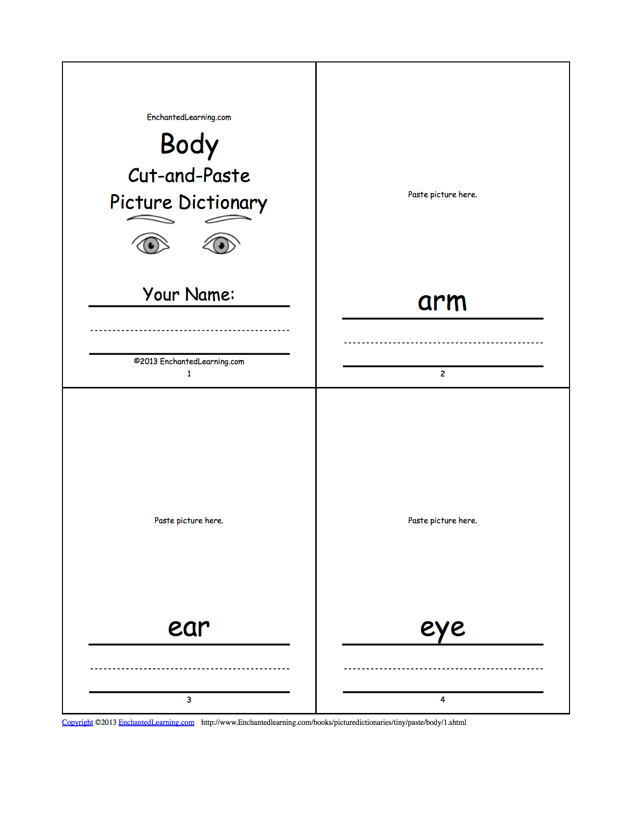 Body Cut And Paste Picture Dictionary