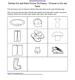 Clothes Cut-and-Paste Picture Dictionary - A Short Book to Print.  EnchantedLearning.com [ 1649 x 1275 Pixel ]