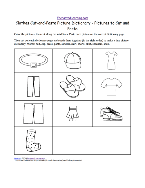small resolution of Clothes Cut-and-Paste Picture Dictionary - A Short Book to Print.  EnchantedLearning.com