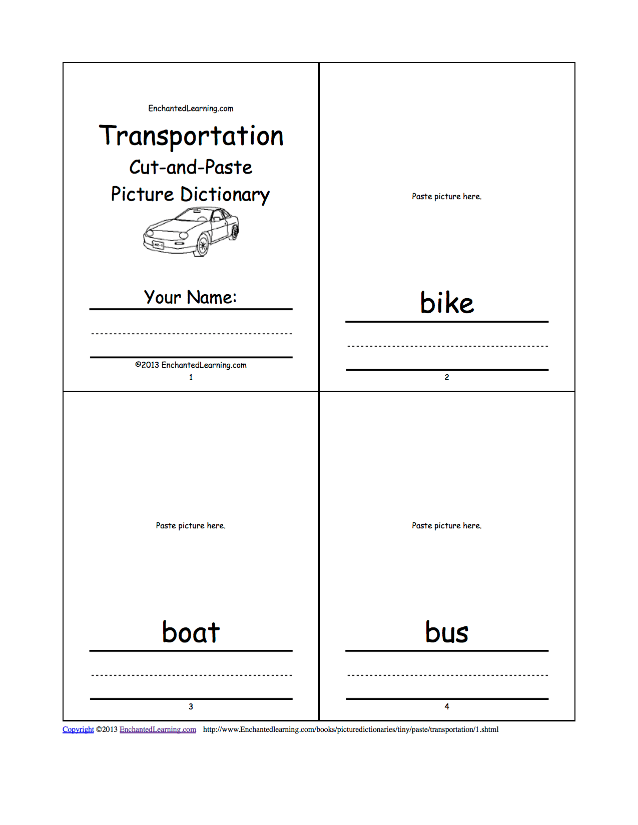 Cut And Paste Transportation Worksheets Pictures To Pin