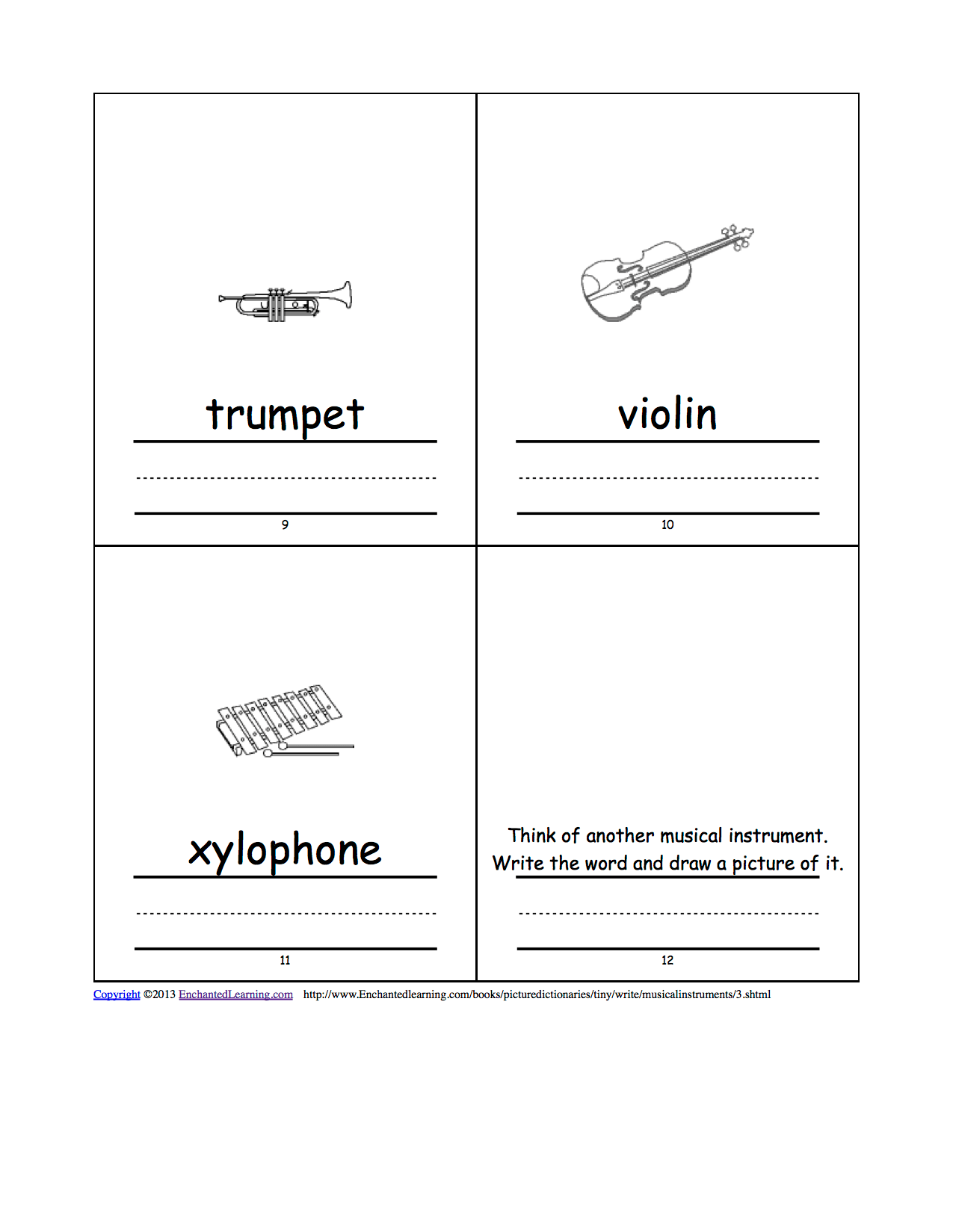 Musical Instruments Tiny Picture Dictionary