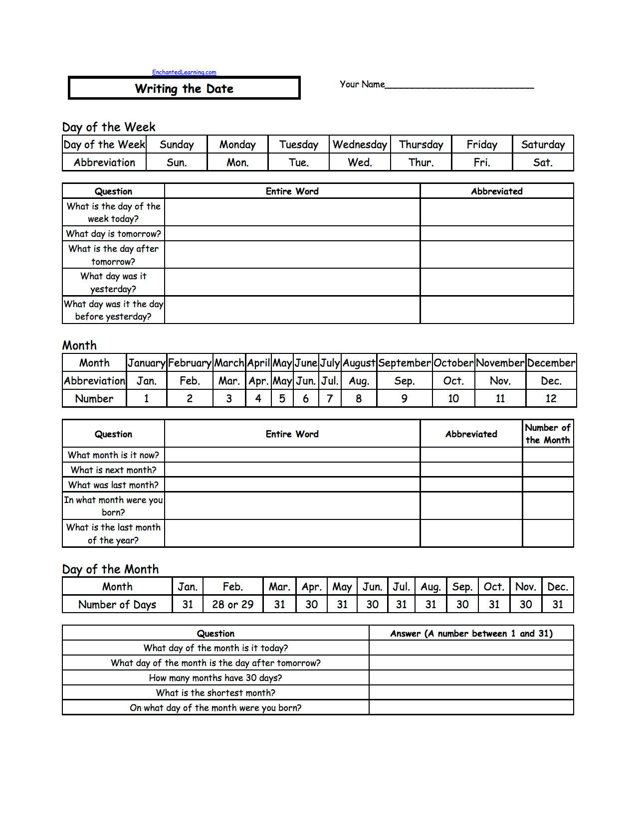 hight resolution of Telling Time - Worksheets: EnchantedLearning.com