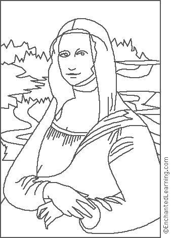 Leonardo da Vinci: Mona Lisa Coloring Page