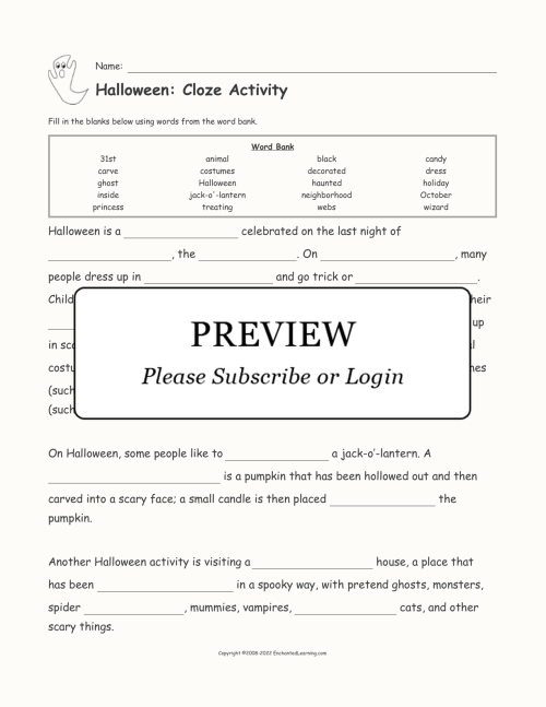 small resolution of Halloween Cloze Activity - Enchanted Learning