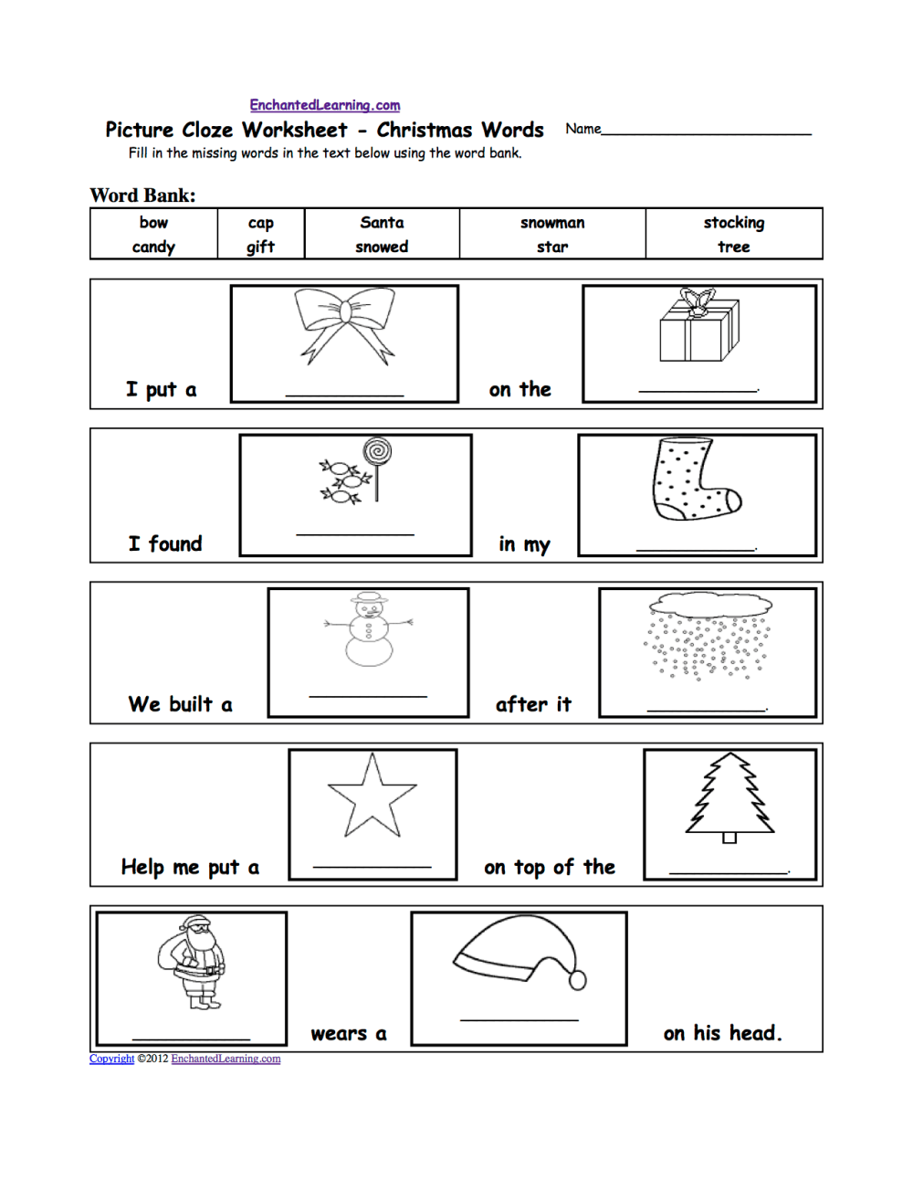 medium resolution of Christmas Activities: Spelling Worksheets - EnchantedLearning.com